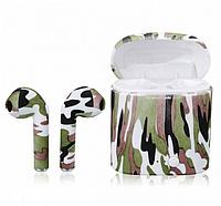 Беспроводные Bluetooth наушники HBQ I7S TWS Stereo камуфляж бело-зеленый
