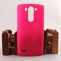 Матовый чехол для LG G3s Dual D722 D724 Розовый Бампер Накладка
