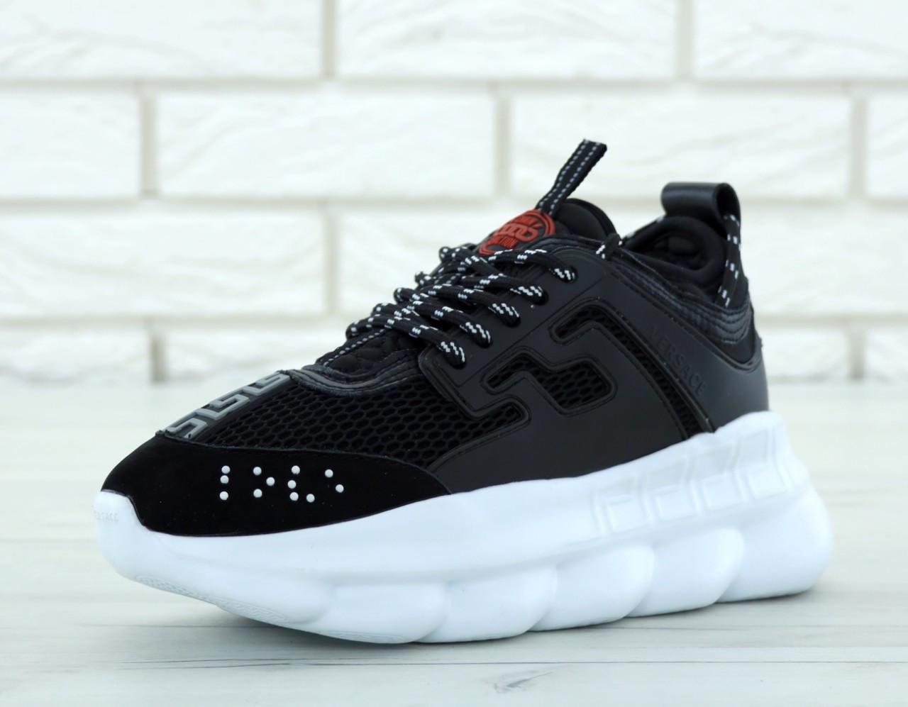 4305ddda Кроссовки Versace Chain Reaction Sneakers реплика ААА+ (нат. замша/кожа) р
