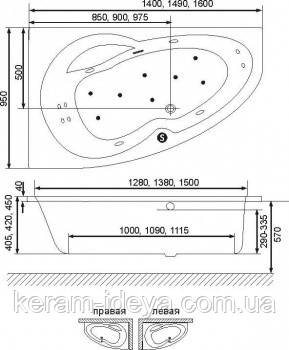 Ванна акриловая Exsellent Newa Plus 150х95см WAEX.NEP15WH правая, фото 2