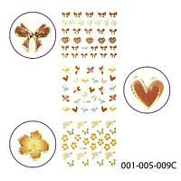 3D наклейки для дизайна ногтей. Золотые цветные. Stick-SA-3D 001_005_009