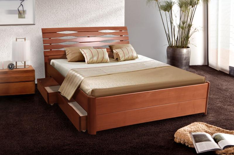 Кровать Мария Люкс (1,60 м.) с ящиками (ассортимент цветов) (Бук)