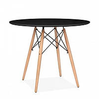 Стіл обідній Тауер Вуд, діаметр 80 см, чорний