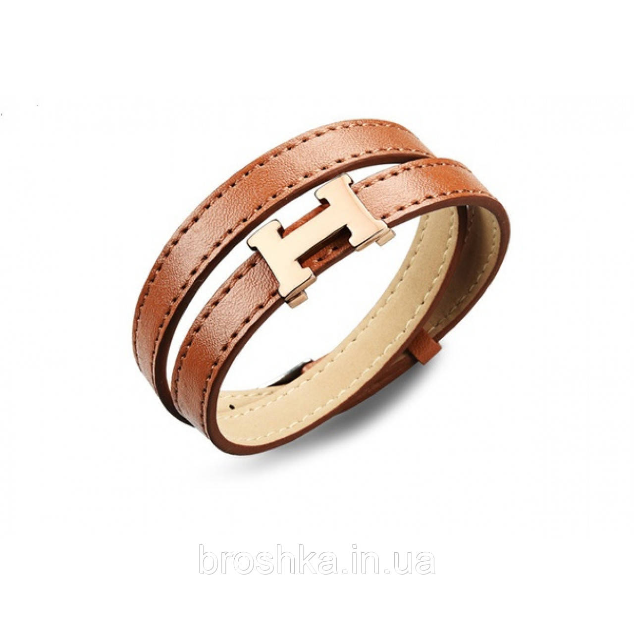 Коричневый кожаный браслет унисекс бижутерия