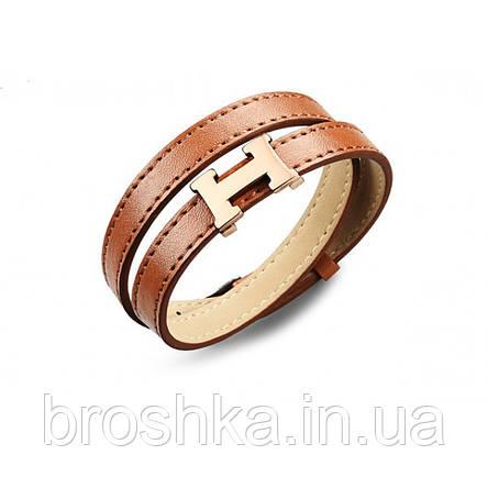 Коричневый кожаный браслет унисекс бижутерия, фото 2