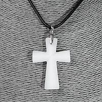 Кварц белый, серебро, крестик, 944КЛК