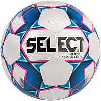Мяч футзальный Select Futsal Mimas Light, бело-синий, р. 4, ламинированный, низкий отскок