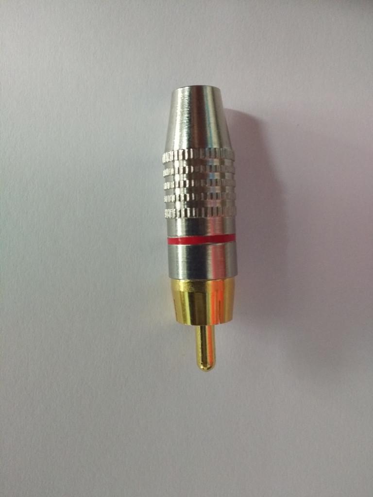 Штекер RCA silver-gold  диам.-6,5мм.,красный
