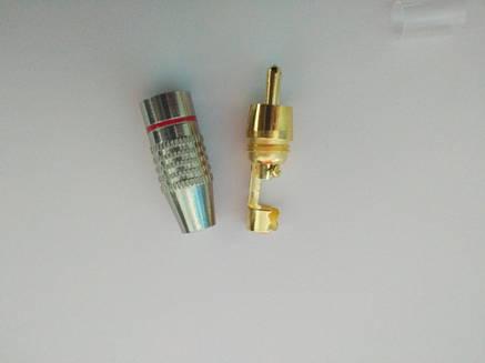 Штекер RCA silver-gold  диам.-6,5мм.,красный, фото 2