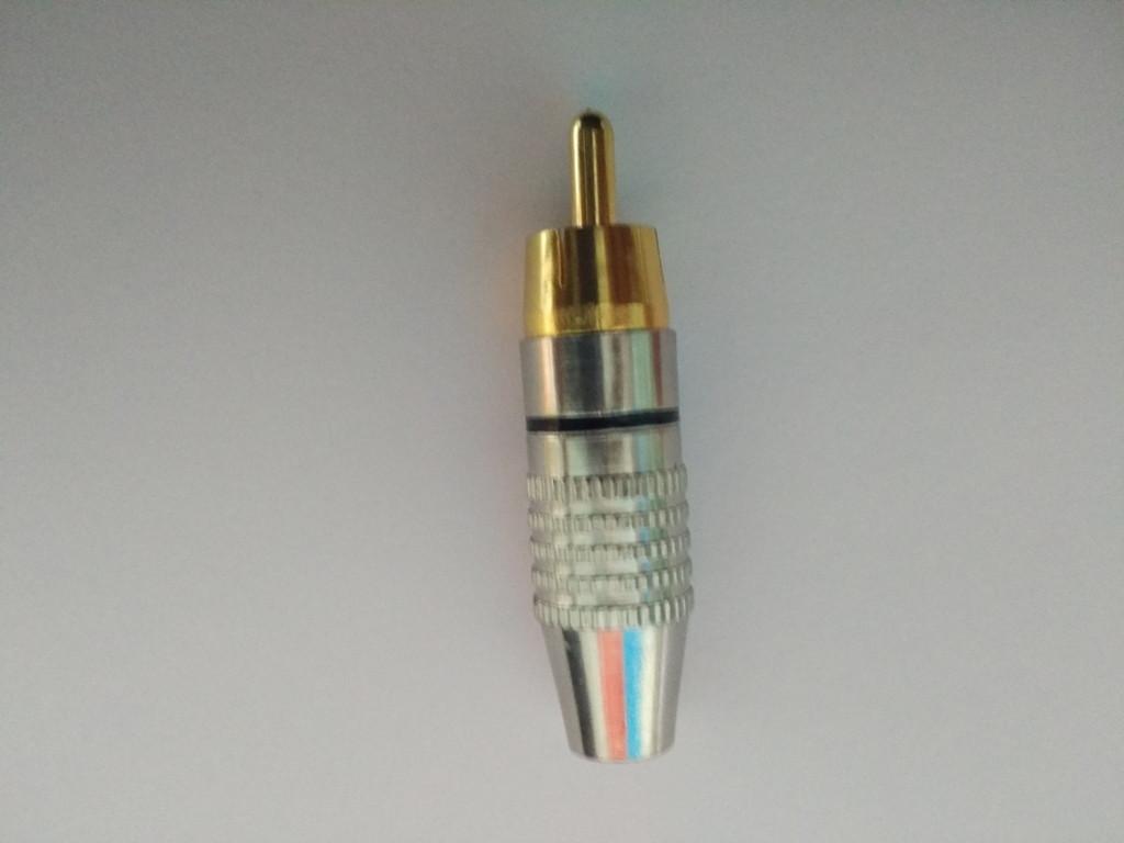 Штекер RCA silver-gold  диам.-6,5мм.,черный