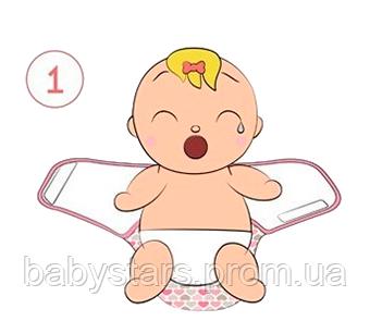 Инструкция по пеленанию ребенка в пеленку кокон на липучке - шаг 1