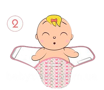 Инструкция по пеленанию ребенка в пеленку кокон на липучке - шаг 2