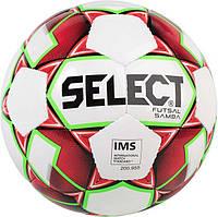Мяч футзальный Select Futsal Samba IMS New, бело-красный, р. 4, не ламинированный, низкий отскок, фото 1