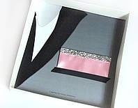 Паше (нагрудный платок для пиджака) розовый с серебром нарядный
