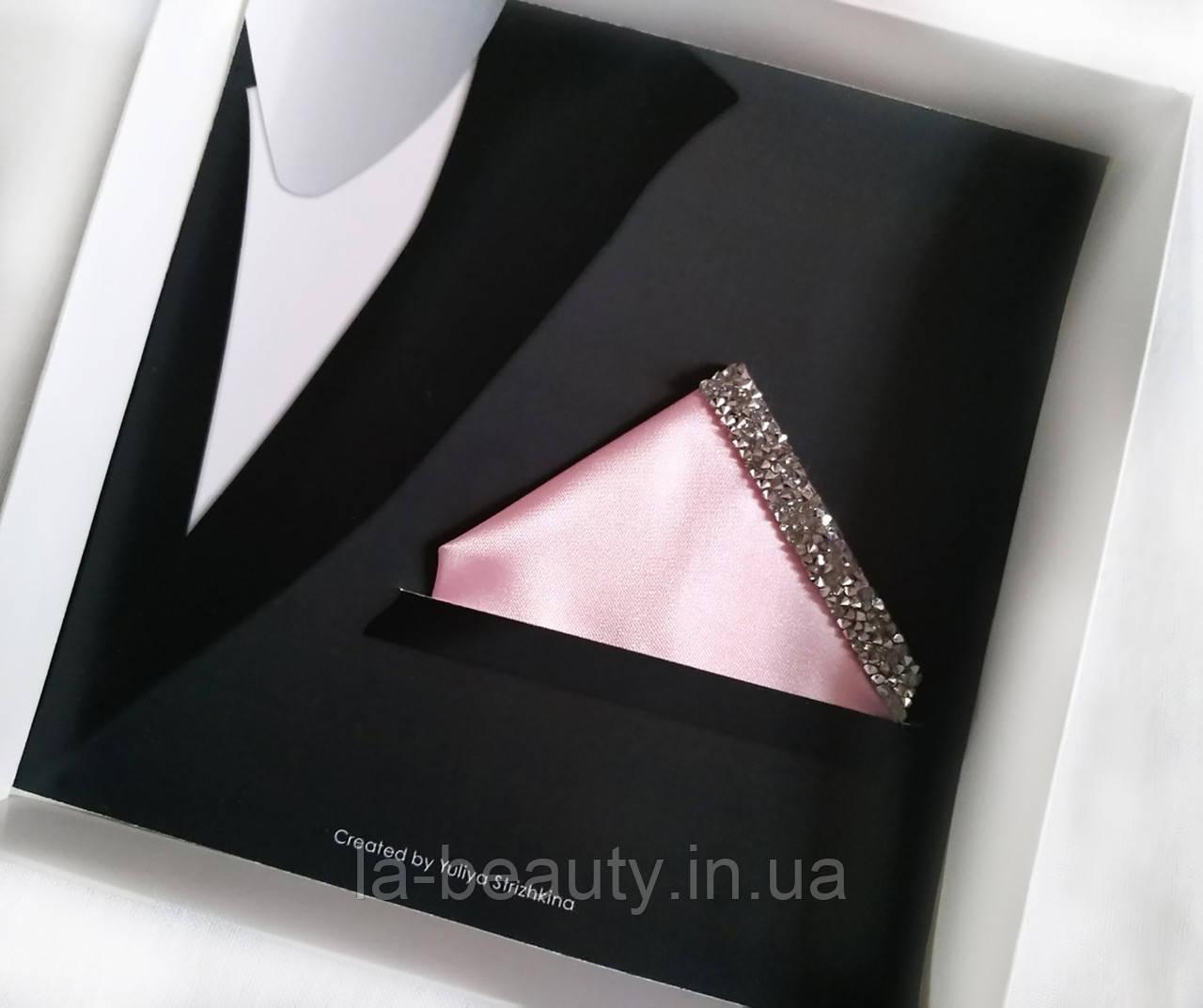 Паше (нагрудный платок для пиджака) розовый с серебром и стразами на праздник