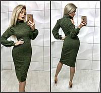 Эленгантное облегающее ангоровое платье миди с разрезами на плечах хаки 42-44 44-46 , фото 1
