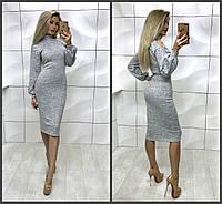 Эленгантное облегающее ангоровое платье миди с разрезами на плечах серое 42-44 44-46 , фото 1