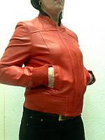 Куртка кожаная женская красная под резинку