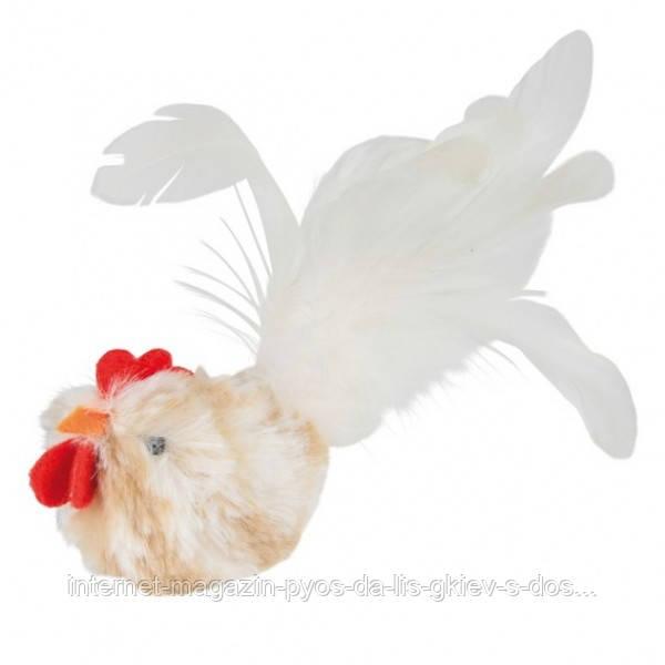 Петух с перьями (8 см) игрушка для собаки или кота