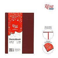 БлокнотА4 (21*29,7 см) Белая бумага 100г/м 96л ROSA StudioБордовая обложка 16R5020