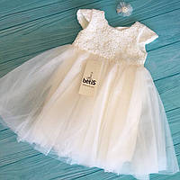 """Платье """"Диамант"""" с заколкой (молочный, белый, пудровый) 68, 74, 80, 86, 92, 98,р."""