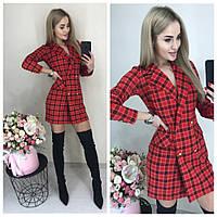 Элегантное стильное платье пиджак на пуговицах в красную с чёрным клетку 42-44 44-46, фото 1