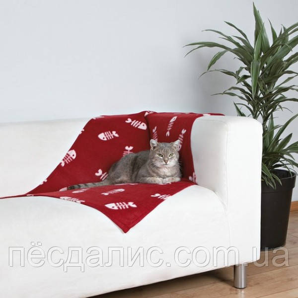 Покрывало подстилка на флисе для котов и собак Trixie Beany красное в рыбах, 100x70 см