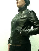 Куртка кожаная женская черная под резинку
