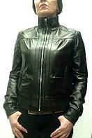 Куртка кожаная натуральная женская черная под резинку на молнии с воротником стойка, фото 1