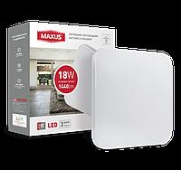 Светодиодный светильник накладной MAXUS 18W 4100K (тонкий дизайн, IP40) квадрат 1-MAX-01-LCL-1841-S