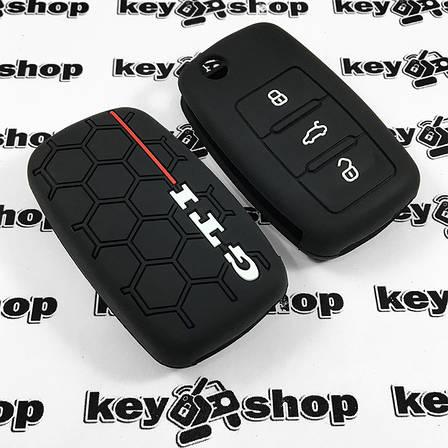 Чохол (чорний, силіконовий) для выкидного ключа Volkswagen GTI (Фольксваген) 3 кнопки, фото 2