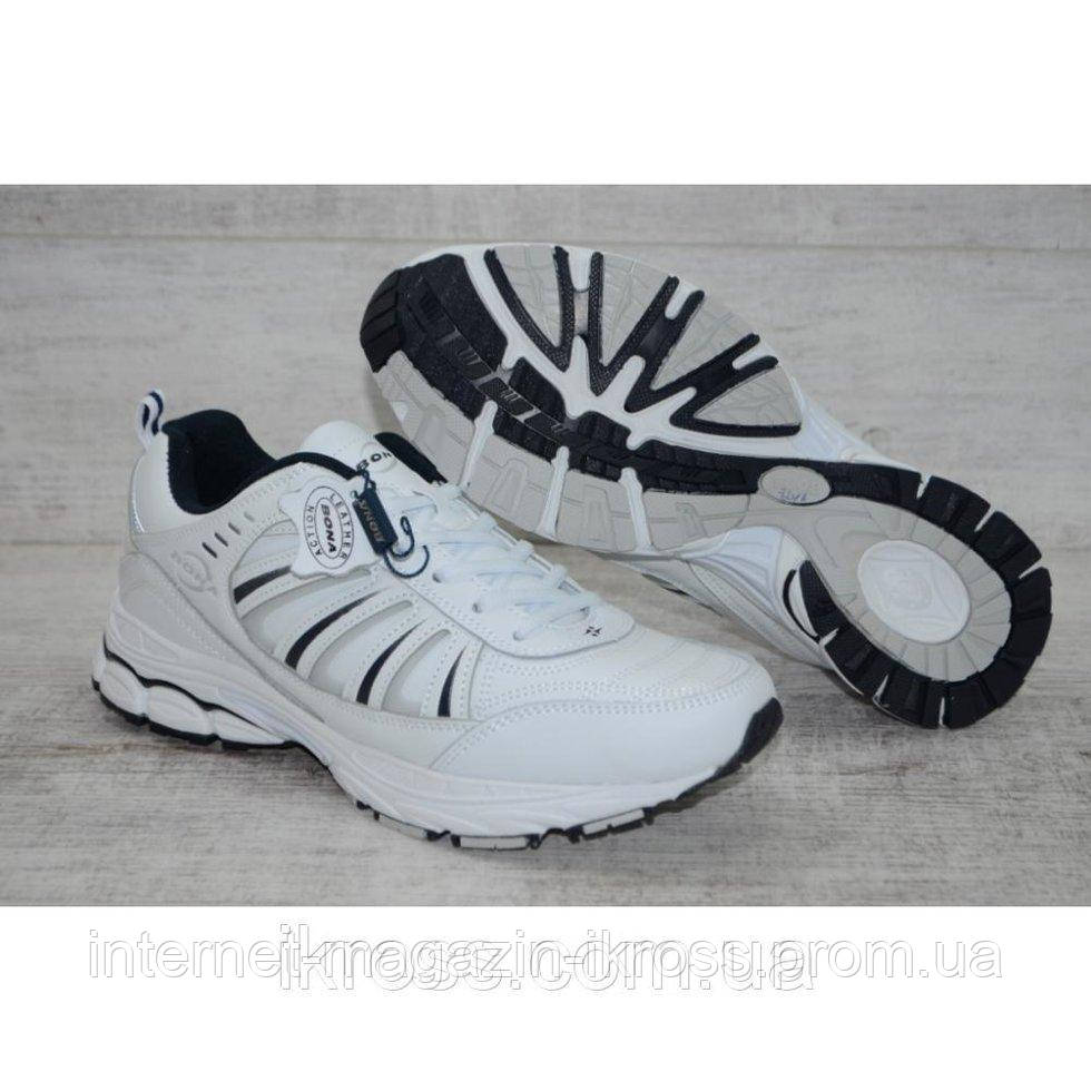 7da49805 Мужские белые кожаные кроссовки Bona, супинатор. Ортопедическая стелька.