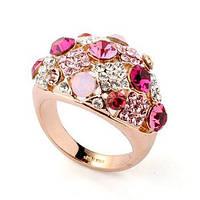 Позолоченное кольцо ювелирная бижутерия с розовыми камнями