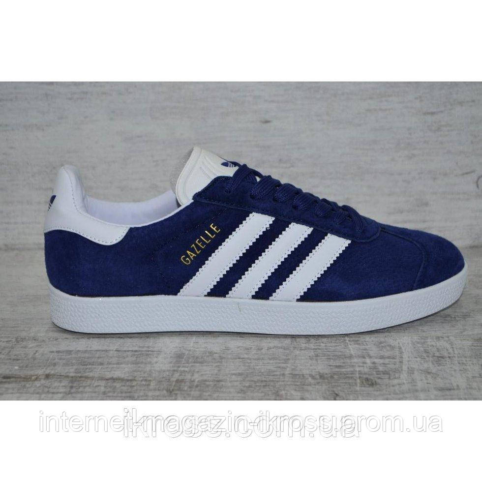 2719f758 Мужские замшевые кроссовки кеды Adidas Gazelle темно-синие. Адидас Газель.