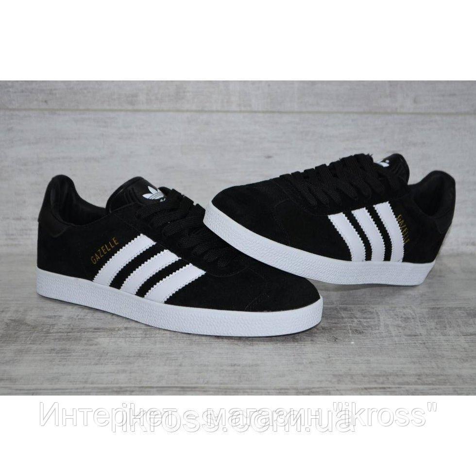 1ef3e794 Мужские замшевые кроссовки кеды Adidas Gazelle черные с белой подошвой.  Адидас Газель.
