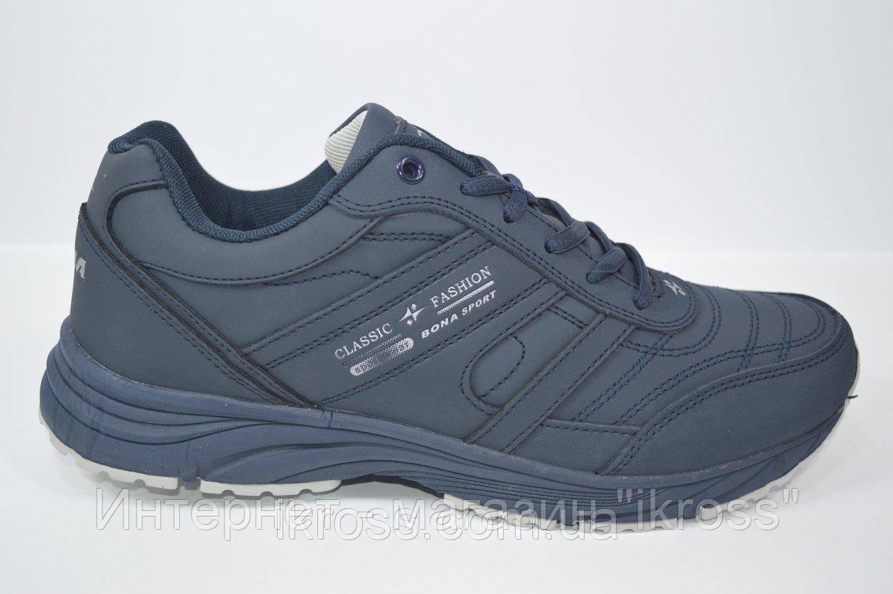 7dd075a5 Мужские кроссовки кожаные Bona. Темно-синего матового цвета. Супинатор.