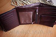Портмоне мужское бордовое вместительное, натуральная кожа, фото 3