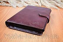Портмоне мужское кожаное бордовое вместительное, натуральная кожа, фото 2