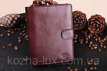 Портмоне мужское кожаное бордовое вместительное, натуральная кожа, фото 3