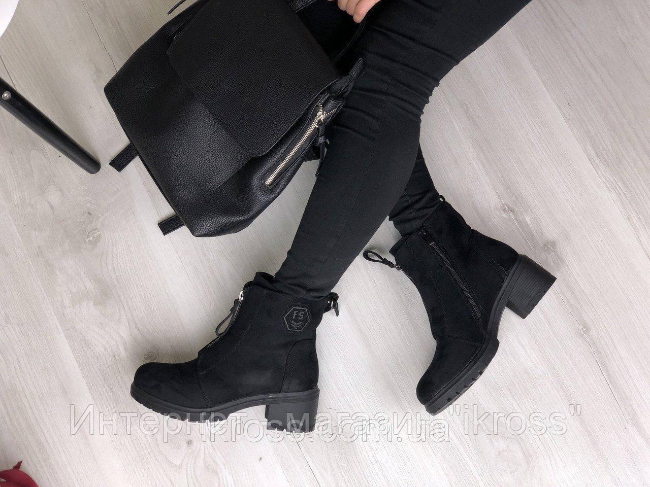 2565c1e6 Черные зимние женские ботинки на каблуке со шнуровкой.: купить или ...