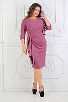 Женское нарядное платье с вертикальным воланом 48,50,52,54рр. Креп-дайвинг, фото 1