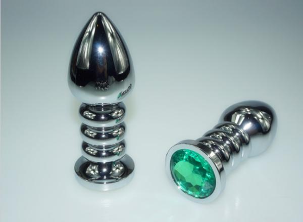 РАСПРОДАЖА Фигурная анальная металлическая пробка в форме штопора с кристалом