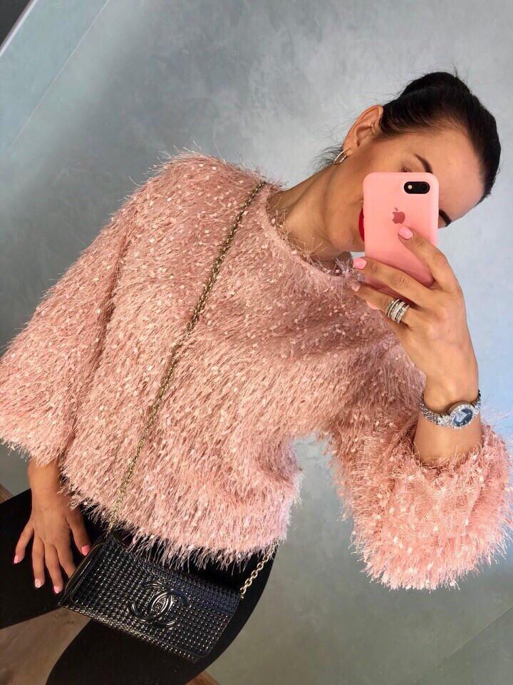 Женский стильный свитер украшен пайеткой РАЗНЫЕ ЦВЕТА(Фабричный Китай ) Код 0122