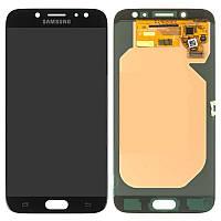 Дисплейный модуль (дисплей и сенсор) для Samsung Galaxy J7 (2017) J730, с рамкой, черный, копия (TFT)