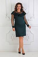 Женское нарядное платье с рукавом сеткой 50,52,54рр. Бутылочный. Костюмка, фото 1
