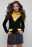 Джемпер-рубашка Диана 105 черный-жёлтый (цветы) (44-48)