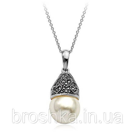 Кулон бижутерия с жемчугом и камнями Swarovski бижутерия, фото 2
