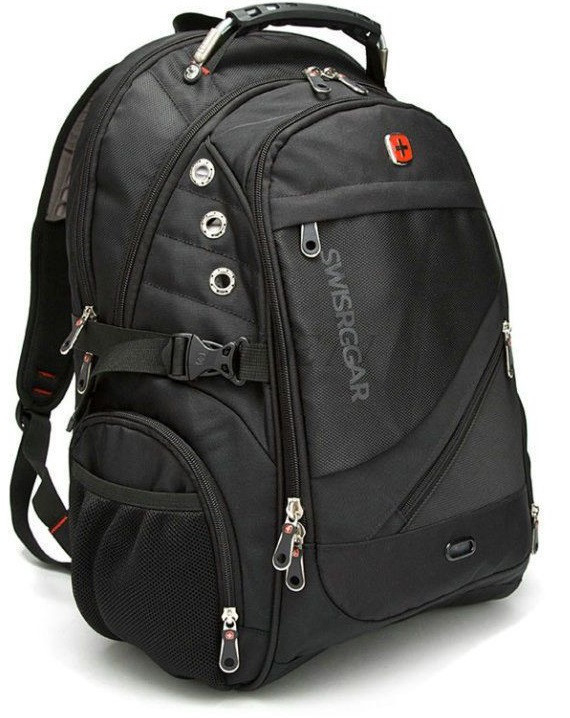 Швейцарский городской рюкзак SwissGear 8810 black с выходом под наушники (свисгир)