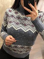 Модный турецкий полушерстяной свитер с Орнаментом джинс -белый-красный (44-48), фото 1