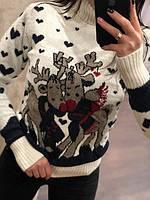 Теплый полушерстяной турецкий свитер с Оленями белый- синий (44-48) 1cbb35d8a7262